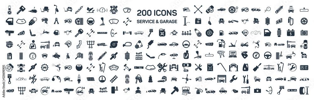 Fototapety, obrazy: Car service & garage 200 isolated icons set on white background,
