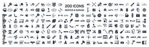 Photo  Car service & garage 200 isolated icons set on white background,