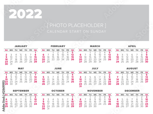 Fotografering  Calendar 2022 year vector design template