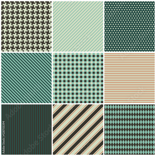 Photo  collection of nine seamless patterns for the fabric