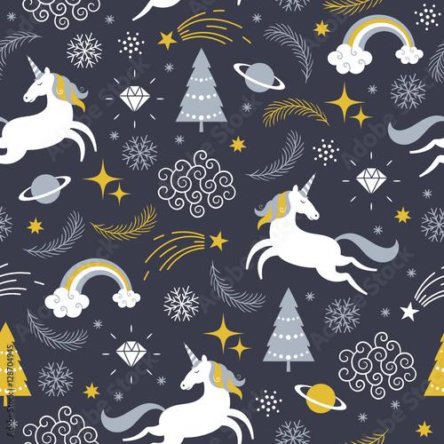 Stoffe zum Nähen nahtlose Muster mit Einhörnern, Weihnachtsthema
