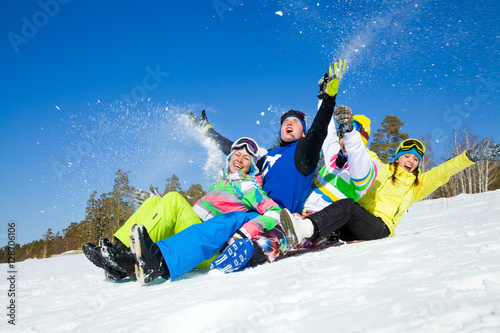 Poster Glisse hiver fun winter holiday
