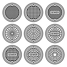 Manhole Sewer Cover Black Symb...