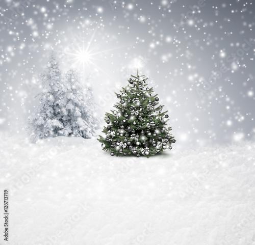 Silberner Christbaum im Wald Poster