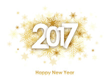 HAPPY NEW YEAR 2017 Card With Gold Snowflakes