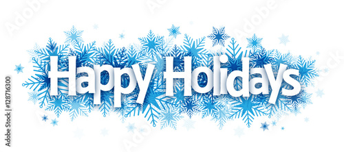 """Foto  """"HAPPY HOLIDAYS!"""" Overlapping Letters Vector Icon on Snowflake Background"""