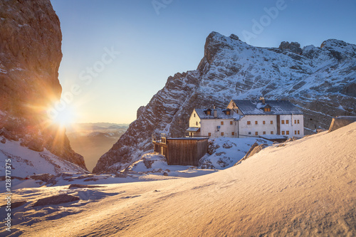 Mountain hut in winter time in the austrian alps, Salzburg, Austria