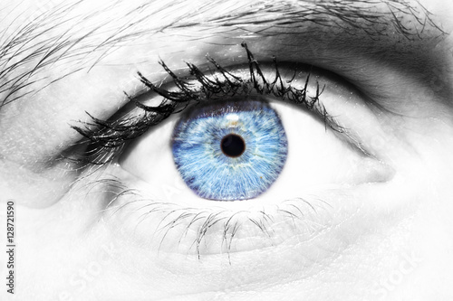 Poster Iris Beautiful insightful look women's blue eye