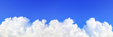 Panorama Of Beautiful Blue Sky And Huge White Cloud