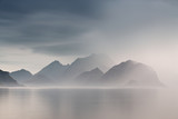 Summer cloudy Lofoten islands. Norway misty fjords. - 128726374