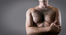 Man With Hairy Chest Isolated ...