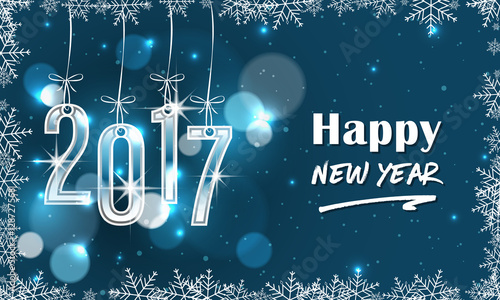 Photo  Blue 2017 New Year banner with snowflakes.