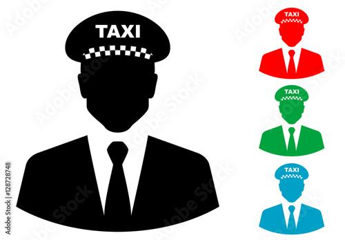 Photo Icono plano silueta taxista varios colores