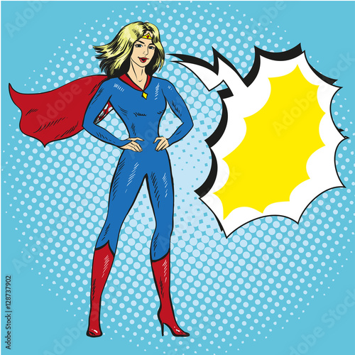 Photo  Vector illustration of superwoman in retro pop art comic style