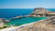 St Paul's Bay at Lindos in Rhodes Greece Overlooking the Popular Recreational Water and Beach Area Destination during the Summer Season at the Greek Mediterranean Island