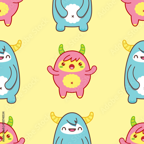 Deurstickers Seamless pattern with cute yeti. Vector illustration