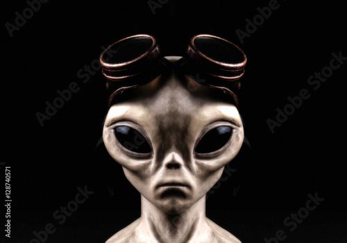 Türaufkleber UFO Extraterrestrial Alien Steam Punk Portrait