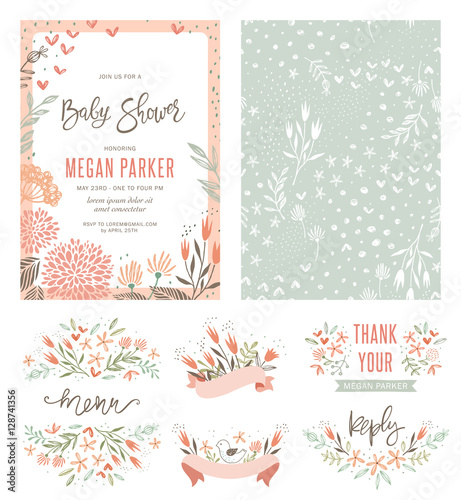 Fototapeta Baby Shower Invitation Templates With Floral And Typographic Design Elements Menu Thank Your Reception Card Seamless Pattern And