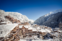 Sun On A Small Mountain Village In The French Alps In Winter