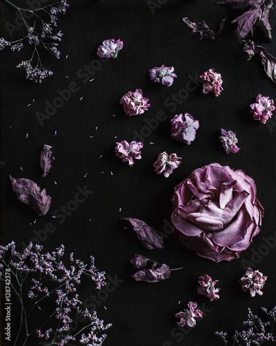 Fotobehang Bloemen Floral falt lay composition