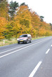 country road. Autumn scene, low angle, motion blur.
