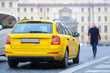 Prague, Czechia - November, 21, 2016: taxi in a center of Prague, Czechia
