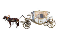 Carriage Drawn By A Chestnut Horse Isolated On White Background