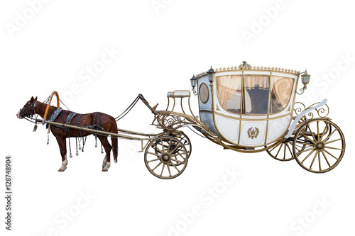 Leinwand Poster carriage drawn by a chestnut horse isolated on white background