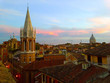 Rome from the height, City Center, Roman roof with red tile, Italy at sunset. Top view of the historic center of the city from the roofs and domes