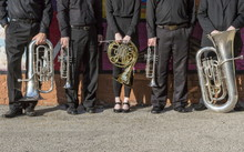 Brass Instruments Lined Up On ...