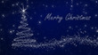 silver Christmas Card on blue Background