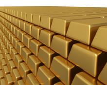 Thousands Of Gold Bullion Bars Piled High