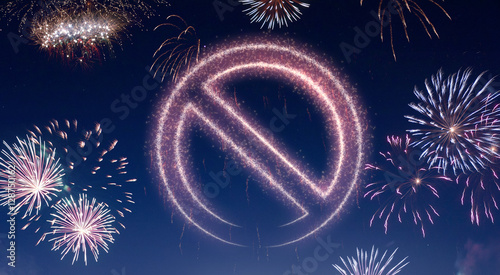 Night sky with fireworks shaped as a forbidden symbol.(series)