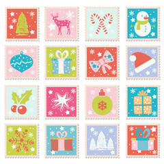 Vector set of Merry Christmas, Happy New Years greeting cards