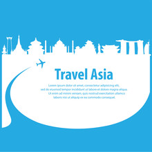 Travel The World By Plane .Travel Around Asia By Plane . Travel And Famous Landmarks Vector Flat Illustration.