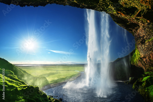 Cascade Seljalandfoss waterfall in summer time, Iceland