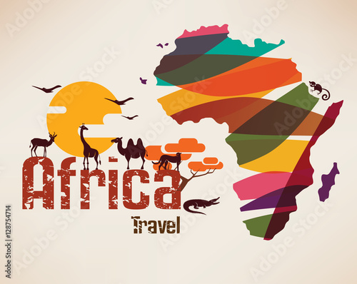 Fotografie, Obraz  Africa travel map, decrative symbol of Africa continent with eth