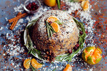 Traditional English Christmas Plum Pudding, Sugar Icing