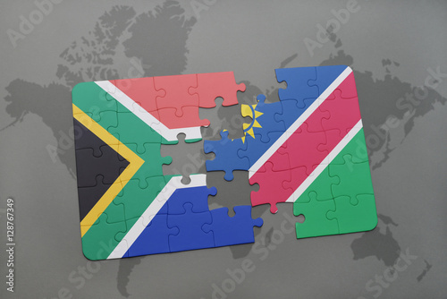 puzzle with the national flag of south africa and namibia on