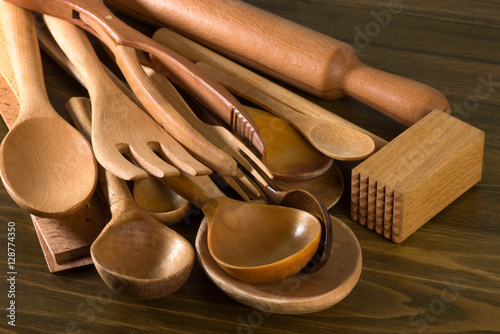 Set of the wooden kitchen utensils buy this stock photo for Kitchen set below 500