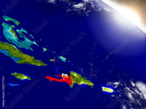 Photo Haiti with flag in rising sun