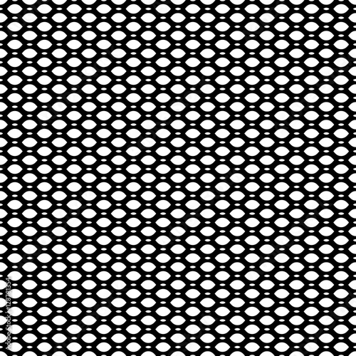 Cuadros en Lienzo Vector monochrome seamless pattern, simple black & white geometric texture, illustration on mesh, lattice, tissue structure