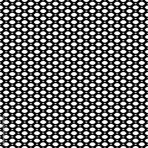 Vector monochrome seamless pattern, simple black & white geometric texture, illustration on mesh, lattice, tissue structure Canvas Print