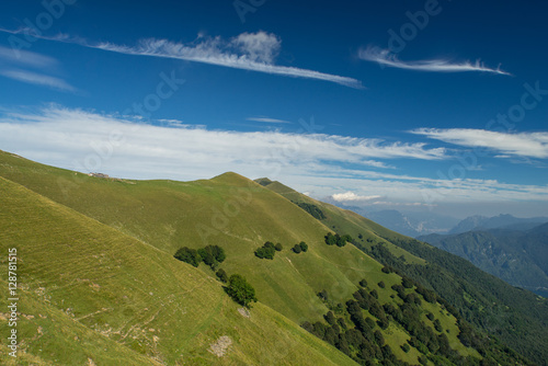 Foto op Canvas Nachtblauw Mountains landscape in Italy. Region of Como lake.