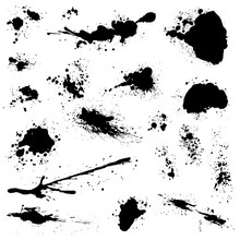 Set Of Black Blots And Ink Spl...