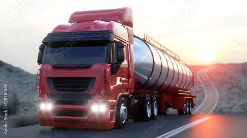 Zdjęcie XXL Benzyna cysterna, przyczepa olejowa, ciężarówka na autostradzie. Bardzo szybka jazda. 3d rendering.