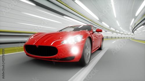 czerwony-samochod-sportowy-w-oswietlonym-tunelu-z-wlaczonymi-dlugimi-swiatlami