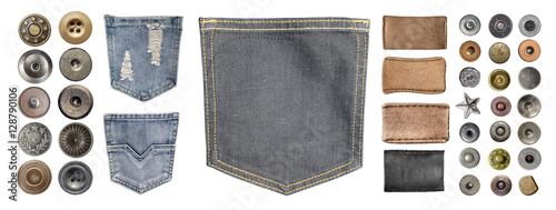collection of various jeans parts Fototapet