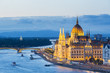 Hungary, Central Hungary, Budapest. Chain Bridge and the Hungarian Parliament Building on the Danube River.