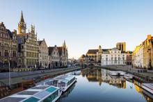 Leie River And Buildings Along Graslei Quay, Ghent (Gent), Flanders, Belgium